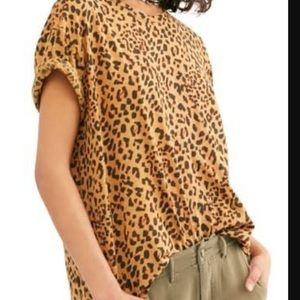 Free People | Leopard Clarity Dolman Tee NWT